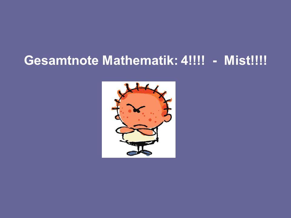 Gesamtnote Mathematik: 4!!!! - Mist!!!!