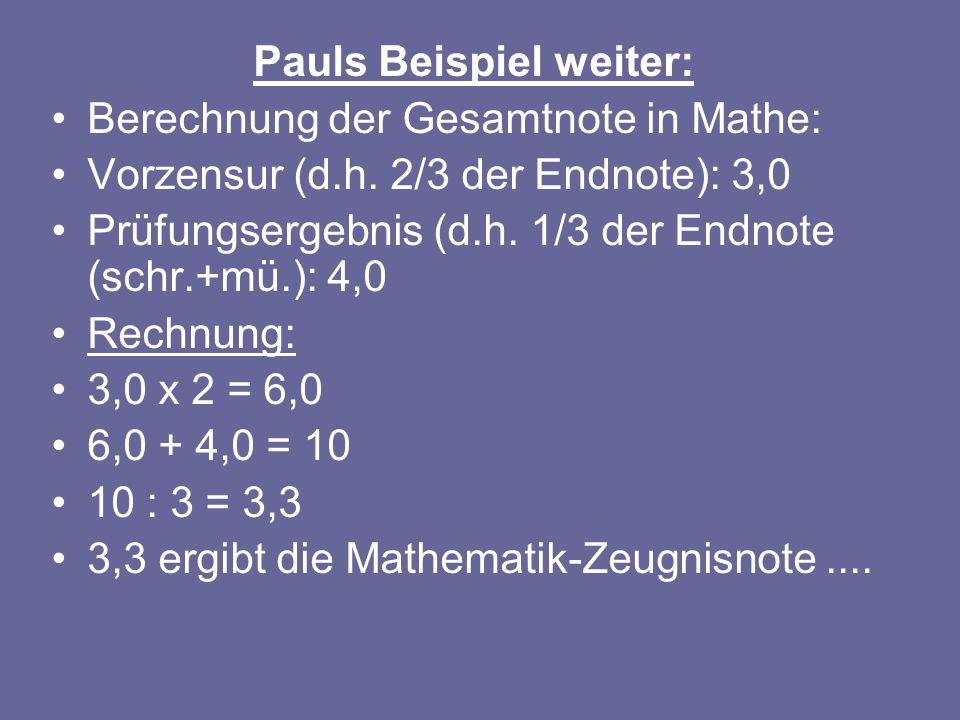 Pauls Beispiel weiter: