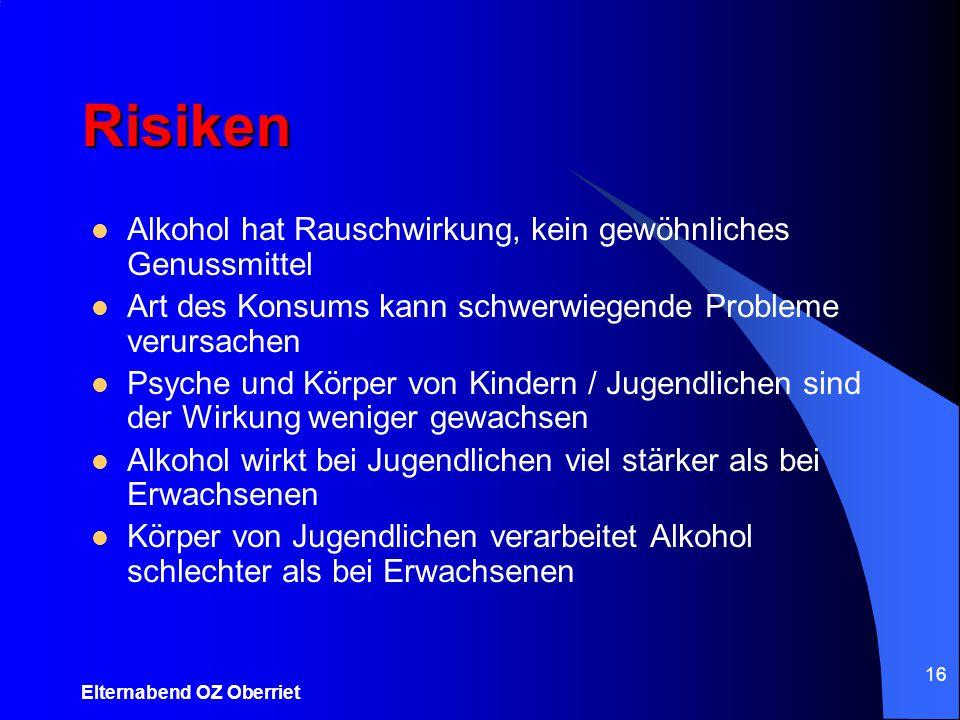 Risiken Alkohol hat Rauschwirkung, kein gewöhnliches Genussmittel