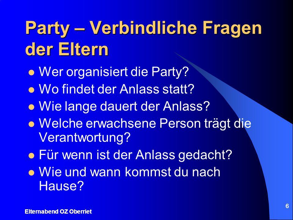 Party – Verbindliche Fragen der Eltern