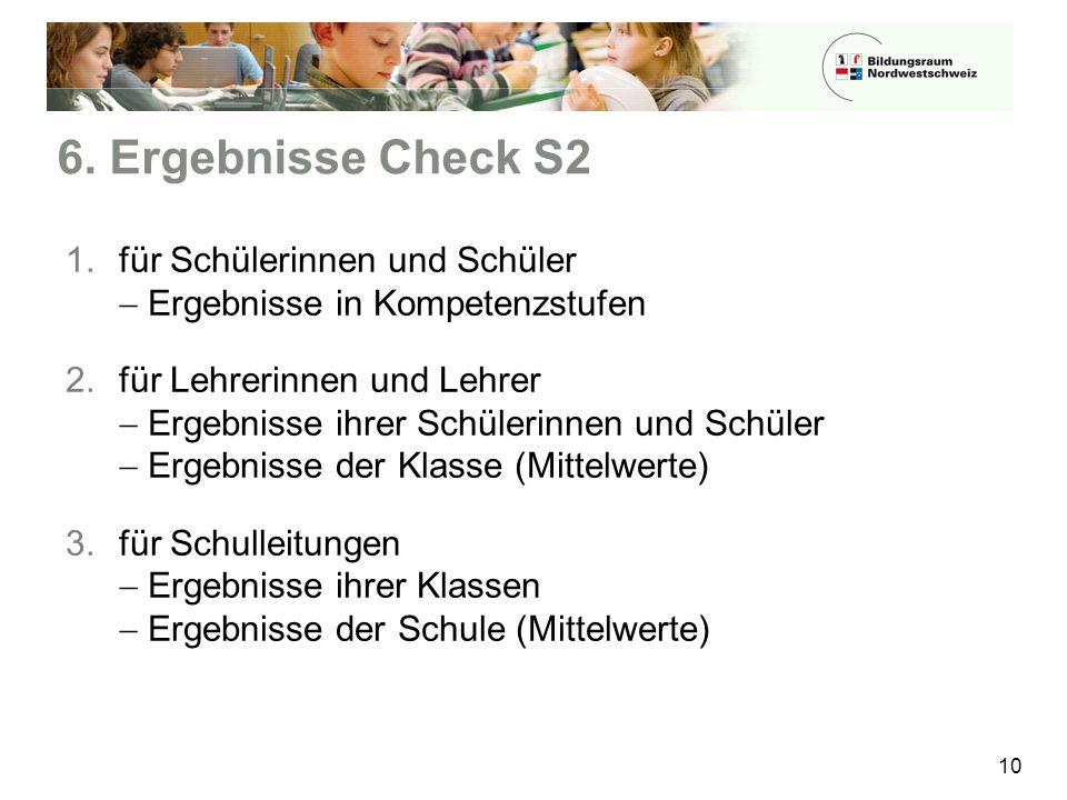 6. Ergebnisse Check S2 für Schülerinnen und Schüler  Ergebnisse in Kompetenzstufen.