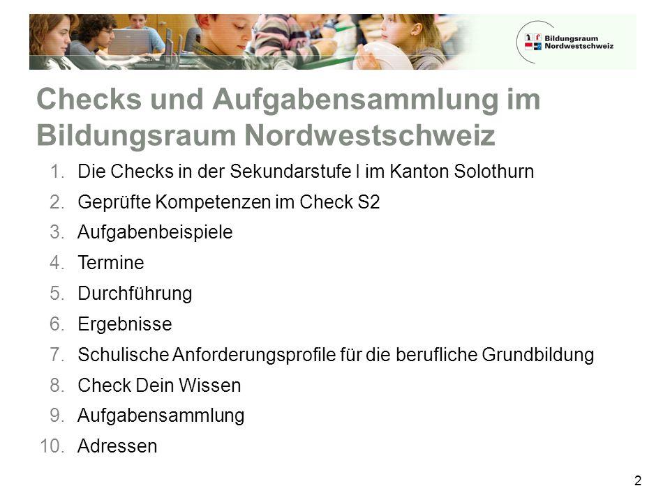 Checks und Aufgabensammlung im Bildungsraum Nordwestschweiz