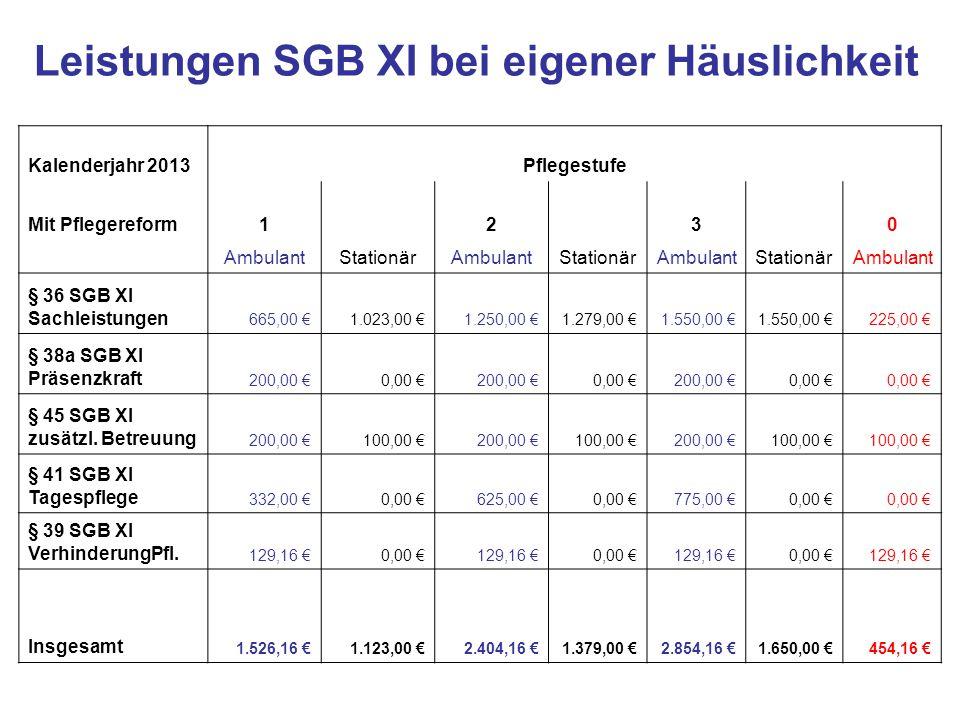 Leistungen SGB XI bei eigener Häuslichkeit