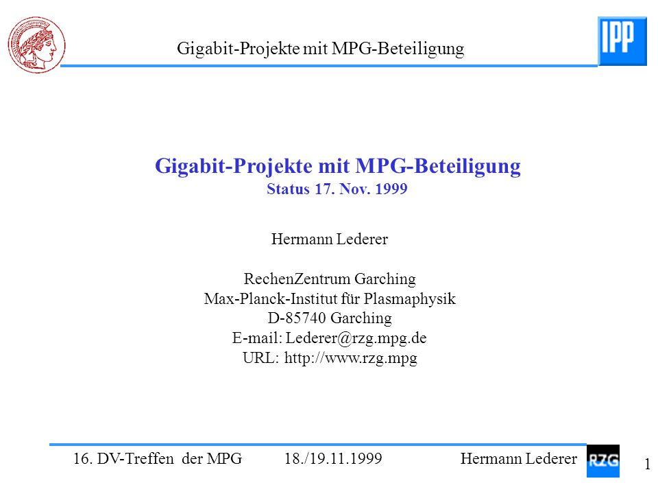 Gigabit-Projekte mit MPG-Beteiligung