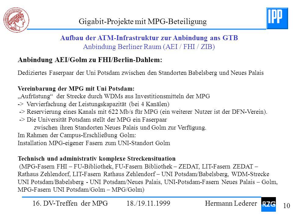 Anbindung AEI/Golm zu FHI/Berlin-Dahlem: