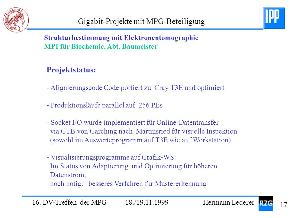 Projektstatus: Strukturbestimmung mit Elektronentomographie