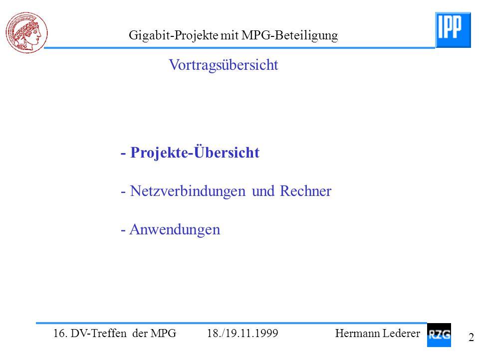 Vortragsübersicht - Projekte-Übersicht - Netzverbindungen und Rechner - Anwendungen