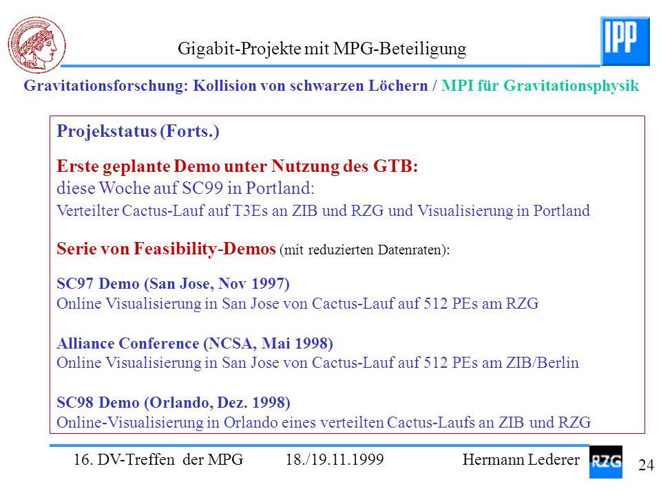 Erste geplante Demo unter Nutzung des GTB: