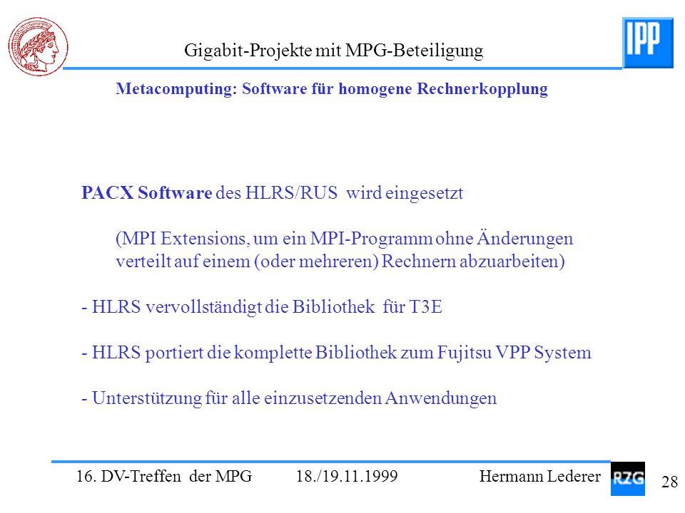 PACX Software des HLRS/RUS wird eingesetzt