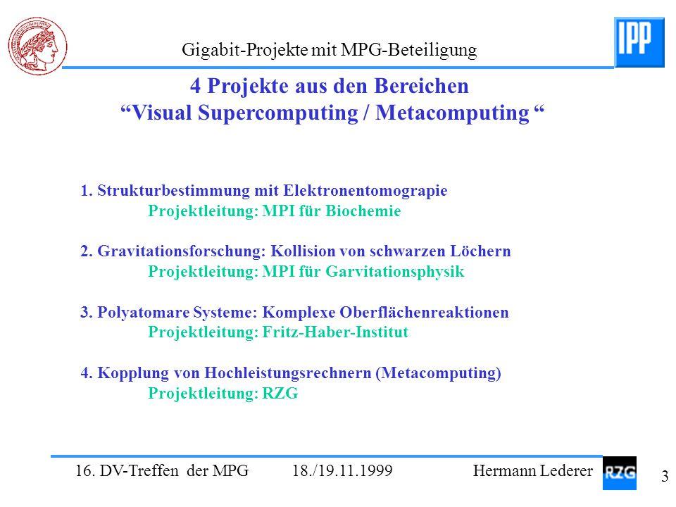 4 Projekte aus den Bereichen Visual Supercomputing / Metacomputing