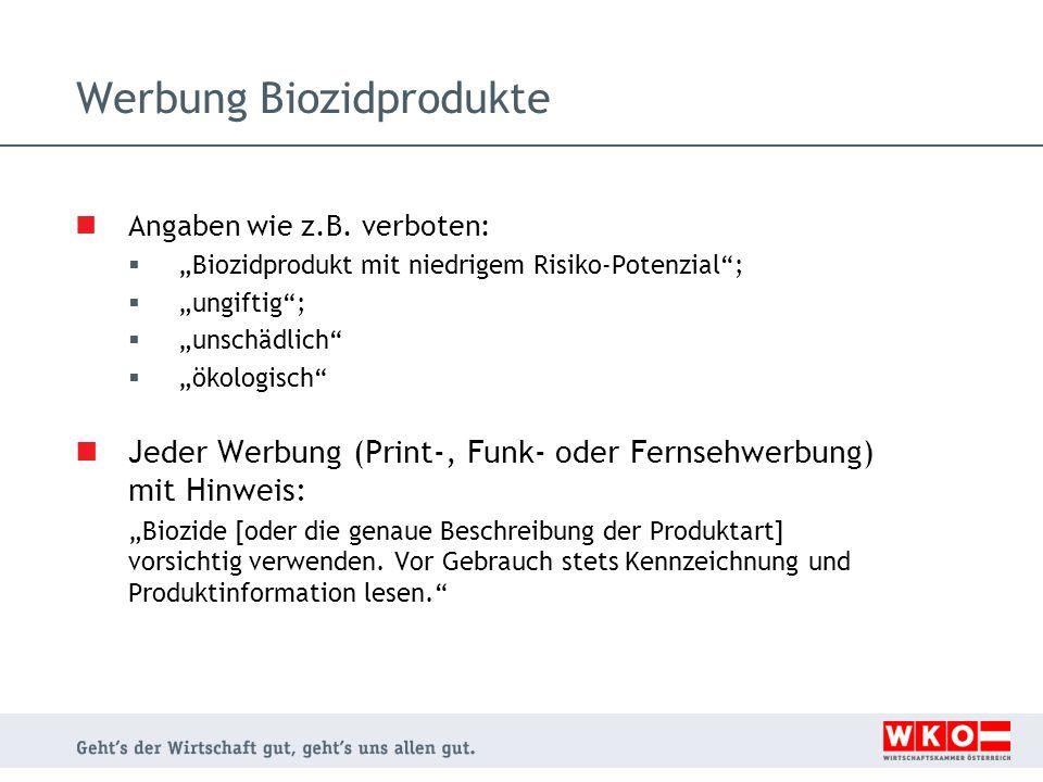 Werbung Biozidprodukte