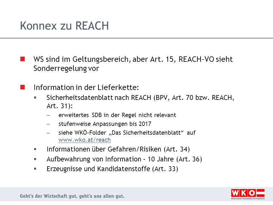 Konnex zu REACH WS sind im Geltungsbereich, aber Art. 15, REACH-VO sieht Sonderregelung vor. Information in der Lieferkette: