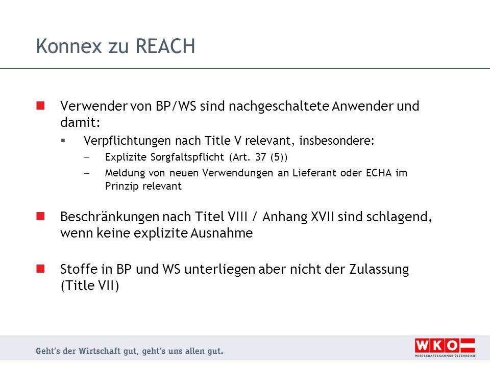 Konnex zu REACH Verwender von BP/WS sind nachgeschaltete Anwender und damit: Verpflichtungen nach Title V relevant, insbesondere: