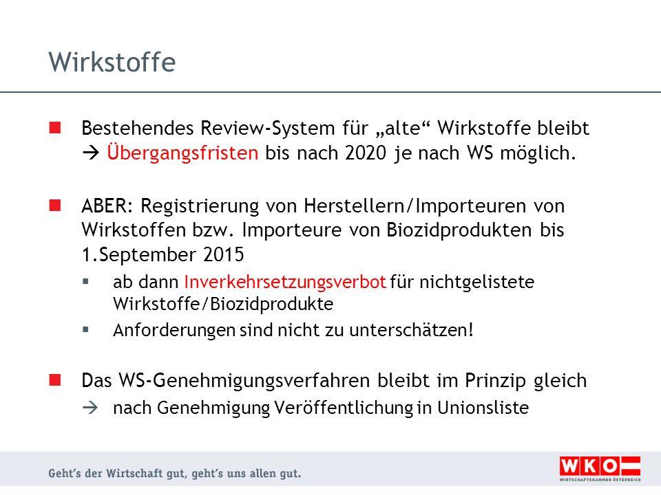 """Wirkstoffe Bestehendes Review-System für """"alte Wirkstoffe bleibt  Übergangsfristen bis nach 2020 je nach WS möglich."""