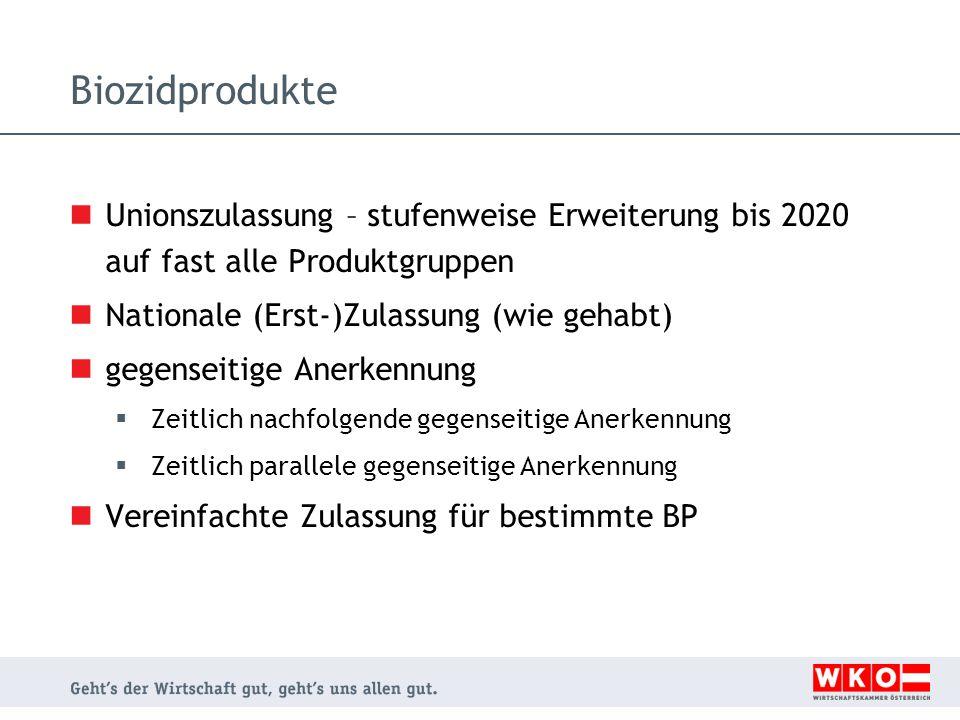 Biozidprodukte Unionszulassung – stufenweise Erweiterung bis 2020 auf fast alle Produktgruppen. Nationale (Erst-)Zulassung (wie gehabt)