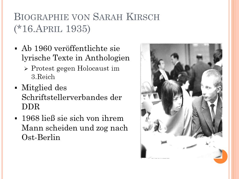 Biographie von Sarah Kirsch (*16.April 1935)