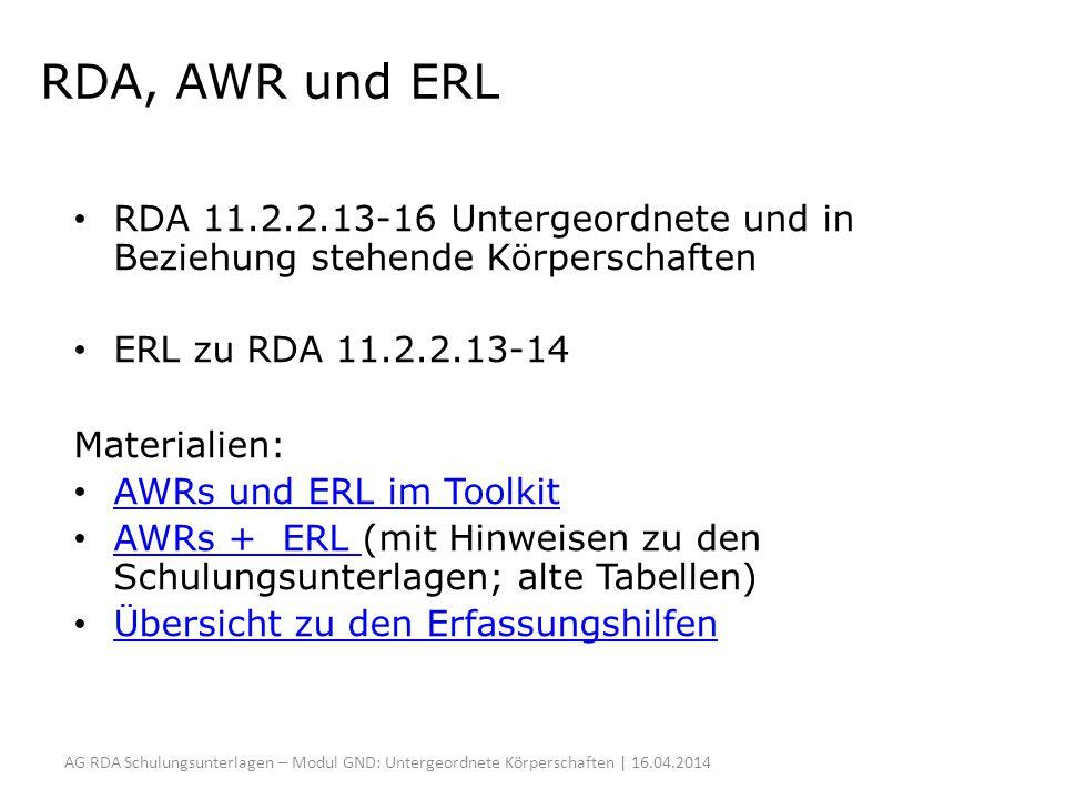 RDA, AWR und ERL RDA 11.2.2.13-16 Untergeordnete und in Beziehung stehende Körperschaften. ERL zu RDA 11.2.2.13-14.