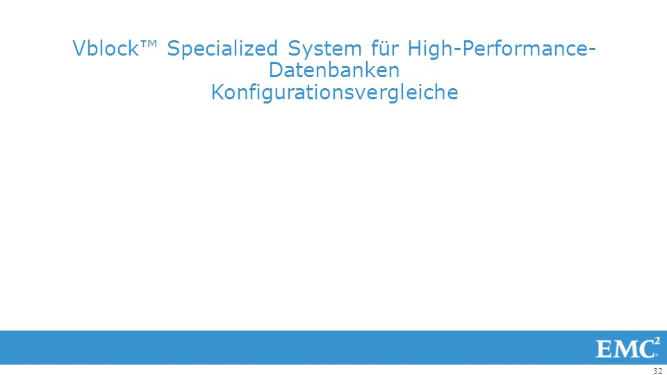 Vblock™ Specialized System für High-Performance-Datenbanken Konfigurationsvergleiche