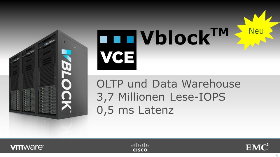 VblockTM OLTP und Data Warehouse 3,7 Millionen Lese-IOPS 0,5 ms Latenz