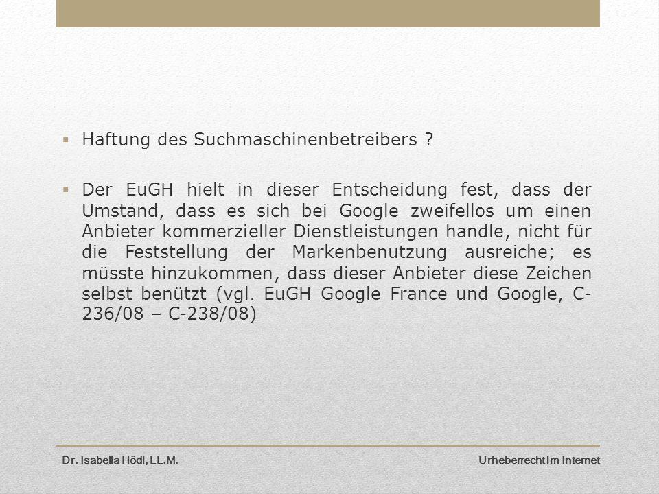 Haftung des Suchmaschinenbetreibers
