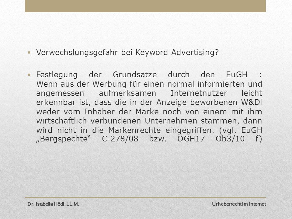 Verwechslungsgefahr bei Keyword Advertising