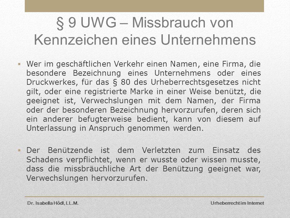 § 9 UWG – Missbrauch von Kennzeichen eines Unternehmens