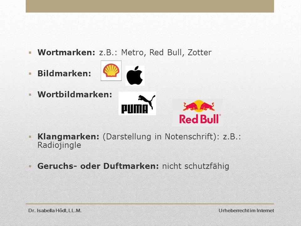 Wortmarken: z.B.: Metro, Red Bull, Zotter Bildmarken: Wortbildmarken: