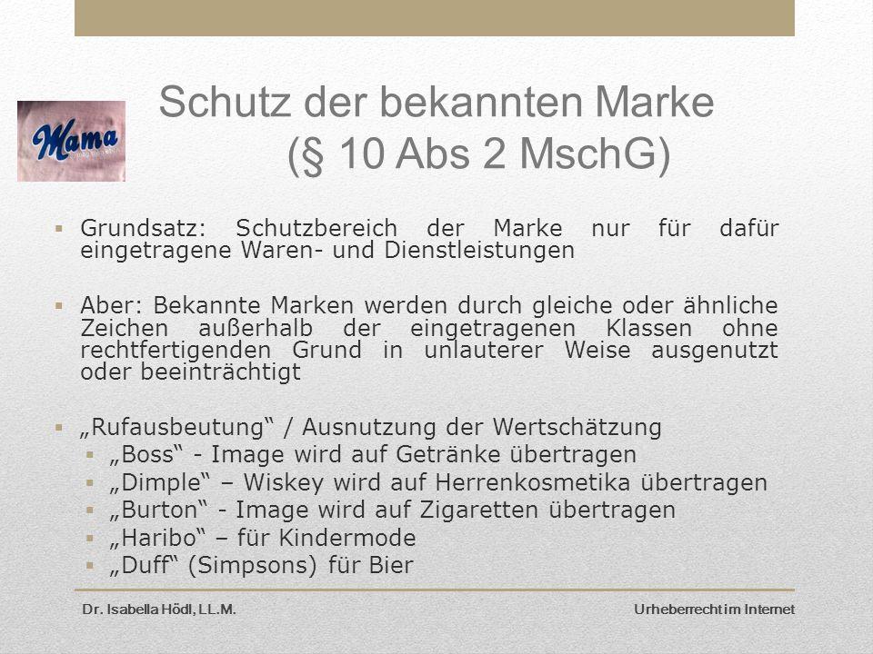 Schutz der bekannten Marke (§ 10 Abs 2 MschG)