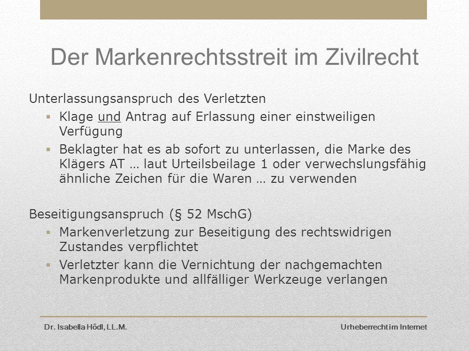 Der Markenrechtsstreit im Zivilrecht