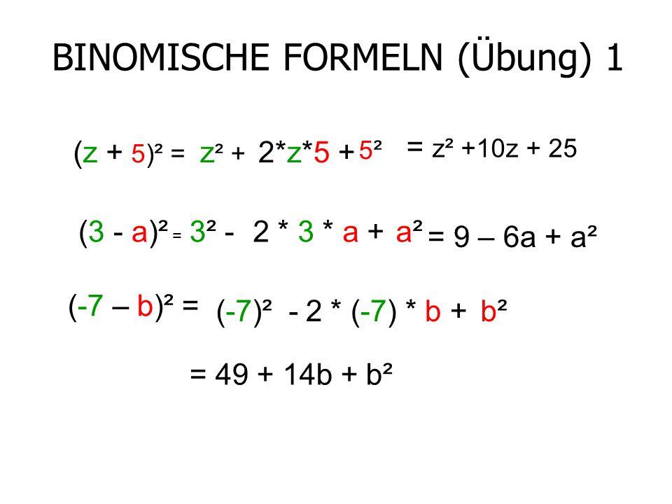 BINOMISCHE FORMELN (Übung) 1