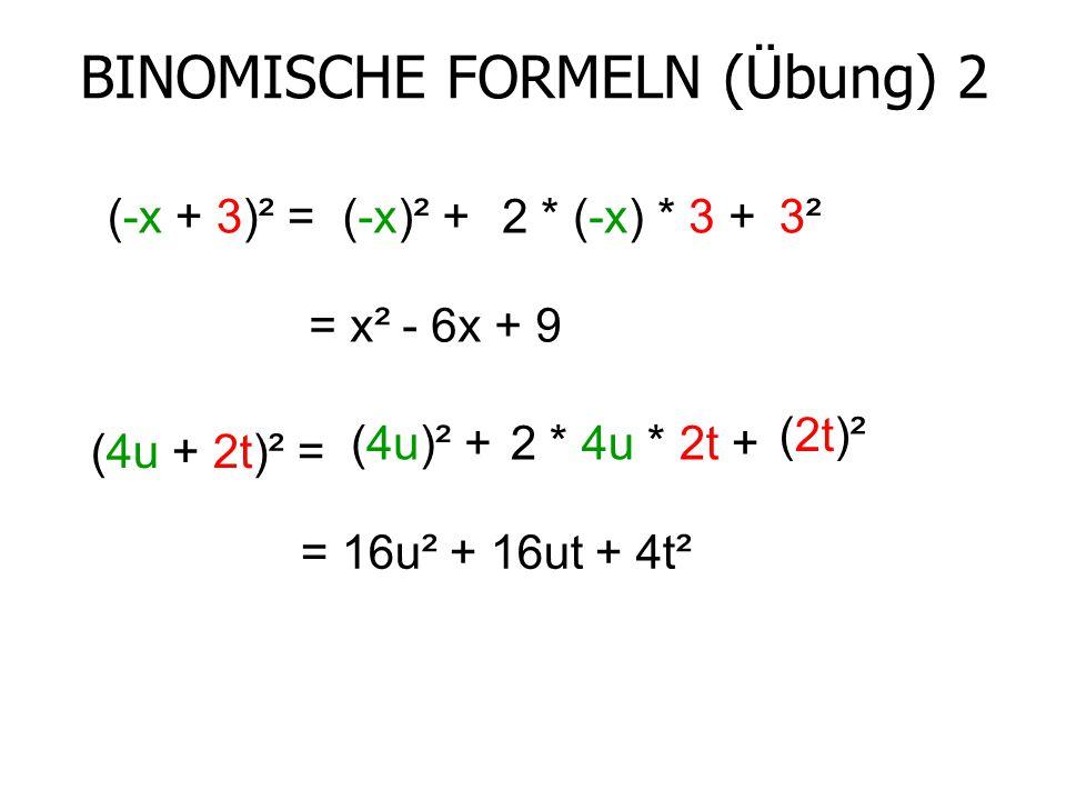 BINOMISCHE FORMELN (Übung) 2