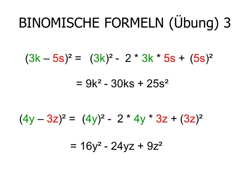 BINOMISCHE FORMELN (Übung) 3