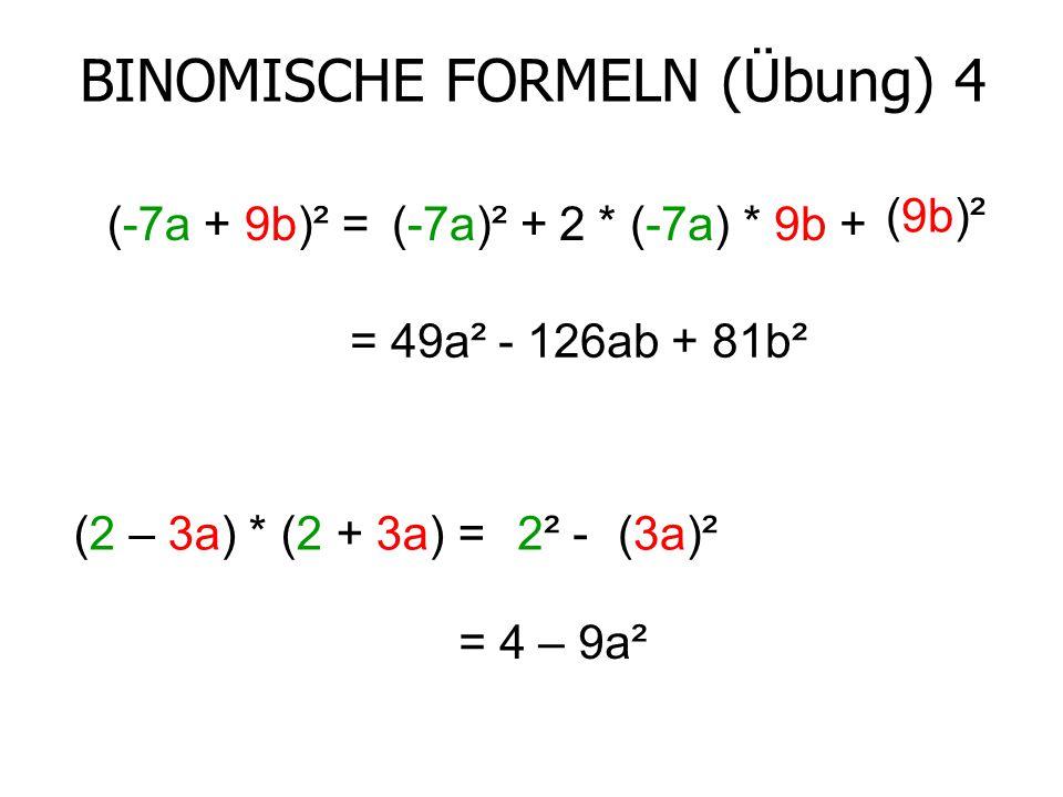 binomische formeln berechnen binomische formeln klasse 7. Black Bedroom Furniture Sets. Home Design Ideas