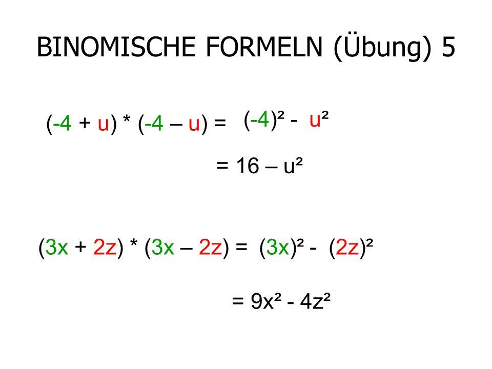 BINOMISCHE FORMELN (Übung) 5