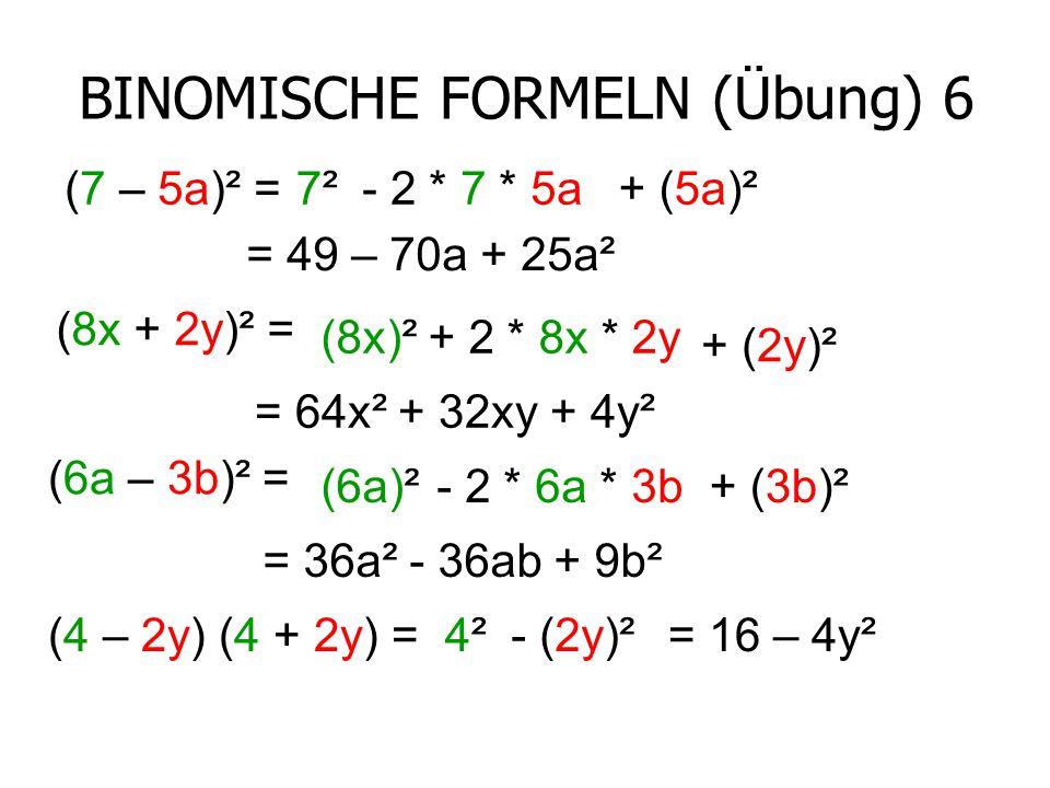 BINOMISCHE FORMELN (Übung) 6