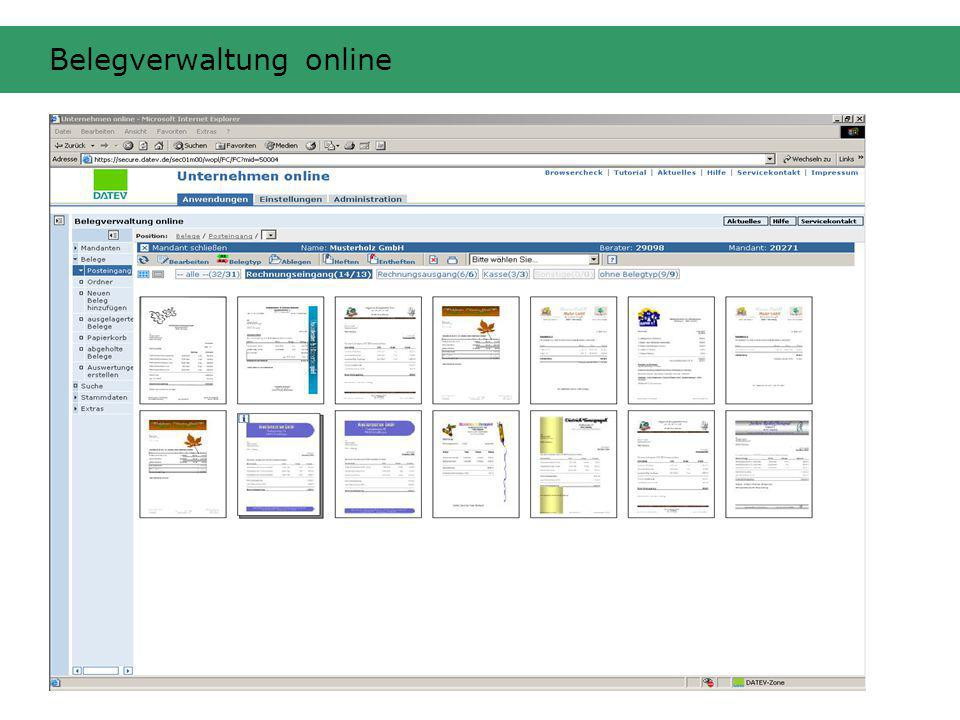 Belegverwaltung online