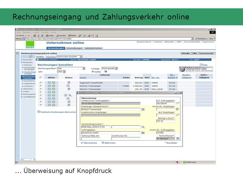 Rechnungseingang und Zahlungsverkehr online