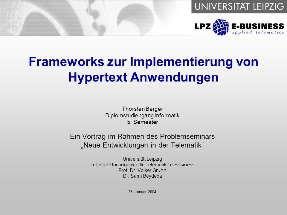 Frameworks zur Implementierung von Hypertext Anwendungen