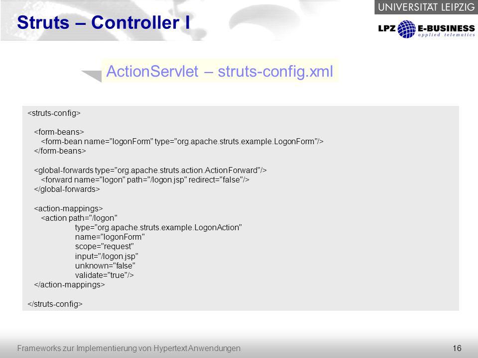 ActionServlet – struts-config.xml