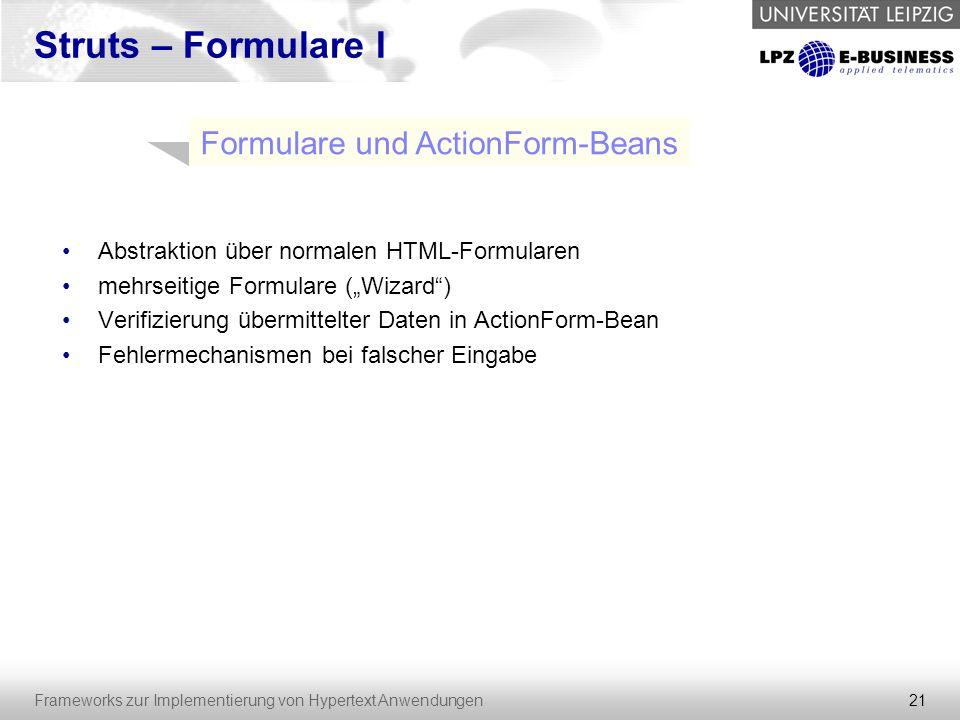 Formulare und ActionForm-Beans