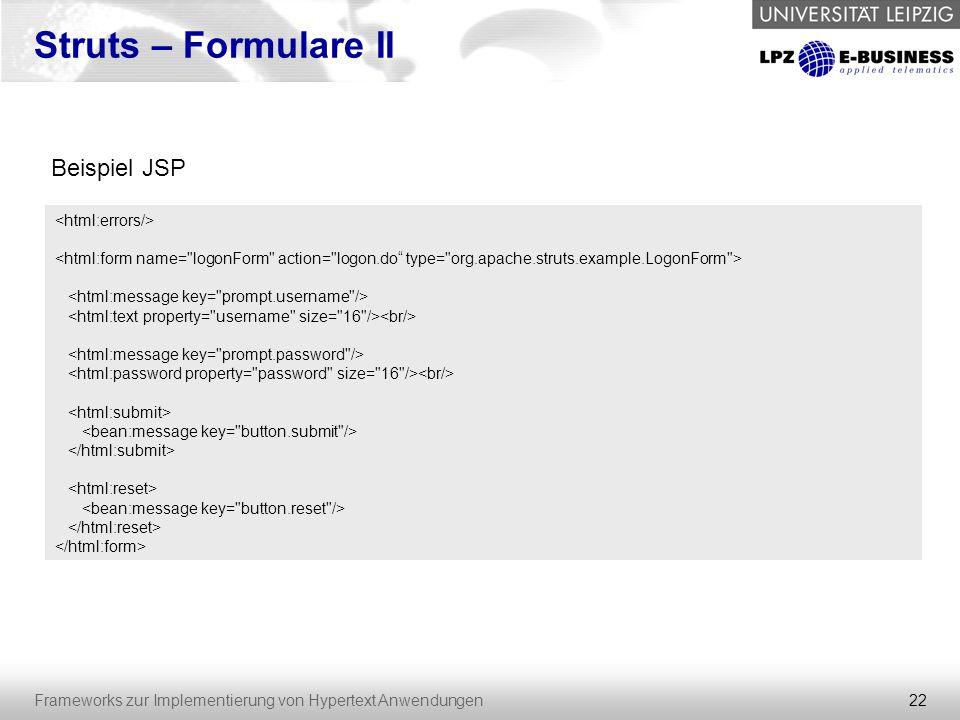 Struts – Formulare II Beispiel JSP <html:errors/>