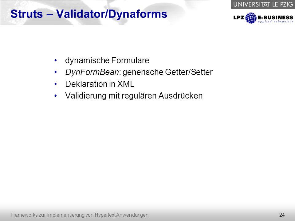 Struts – Validator/Dynaforms
