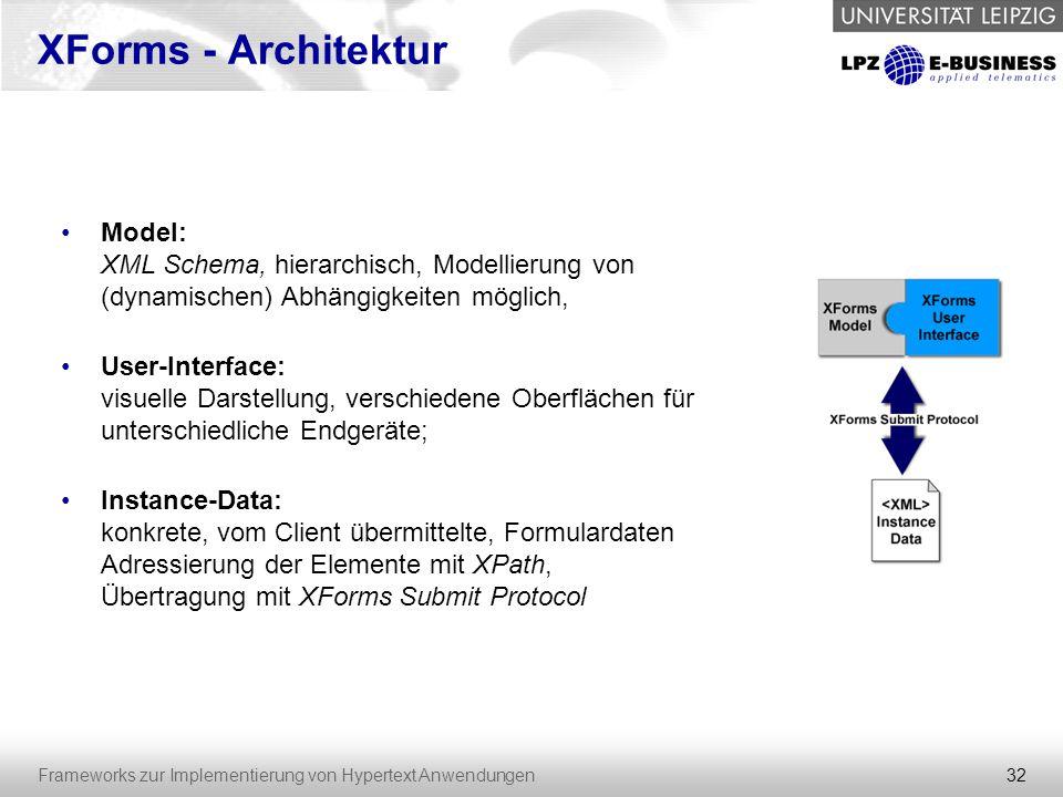 XForms - Architektur Model: XML Schema, hierarchisch, Modellierung von (dynamischen) Abhängigkeiten möglich,