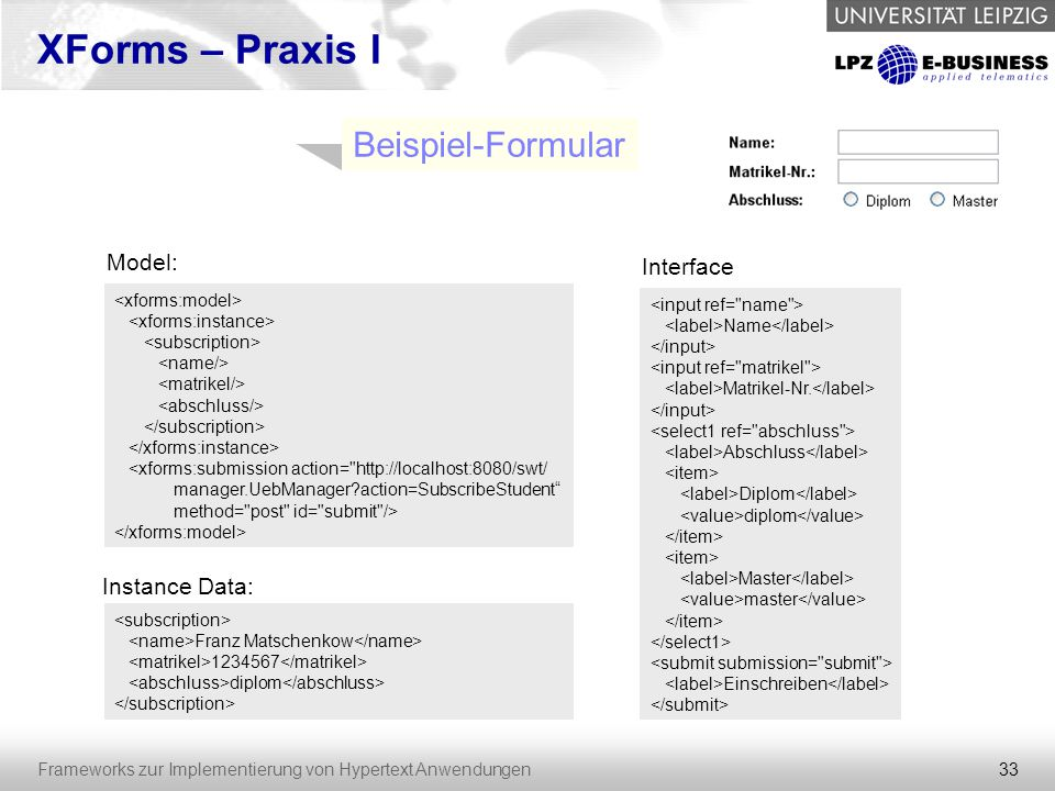 XForms – Praxis I Beispiel-Formular Model: Interface Instance Data: