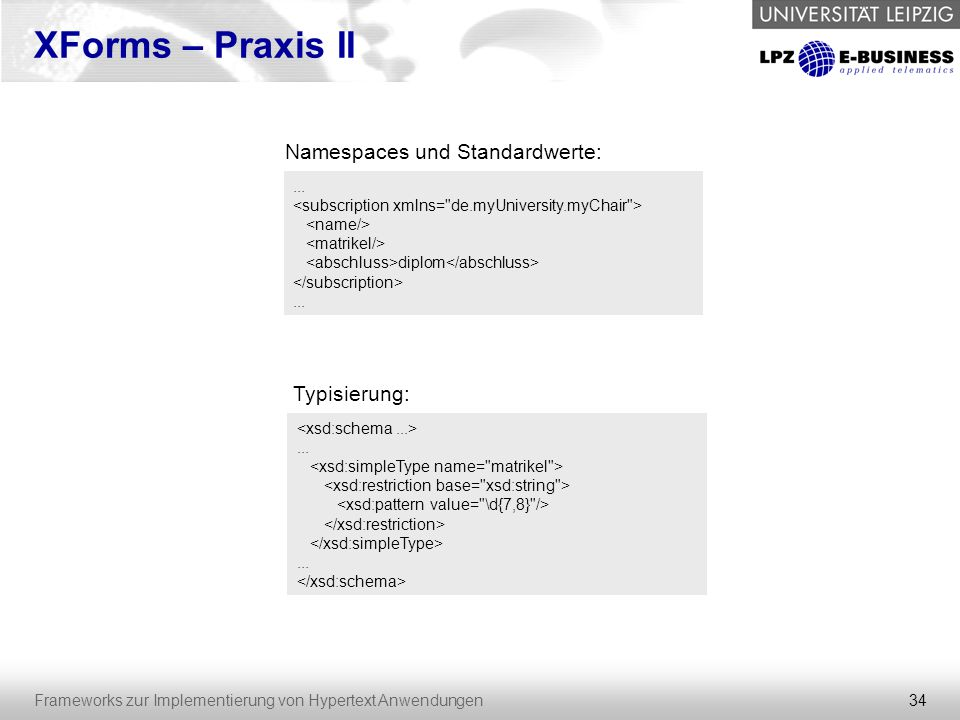 Namespaces und Standardwerte: