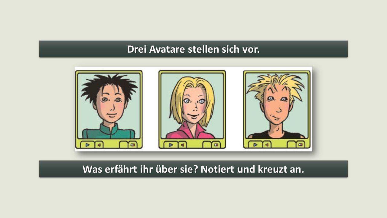 Drei Avatare stellen sich vor.