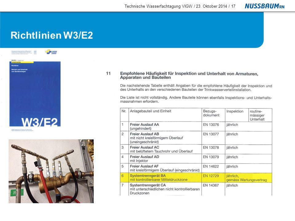 Technische Wasserfachtagung VIGW / 23. Oktober 2014 /