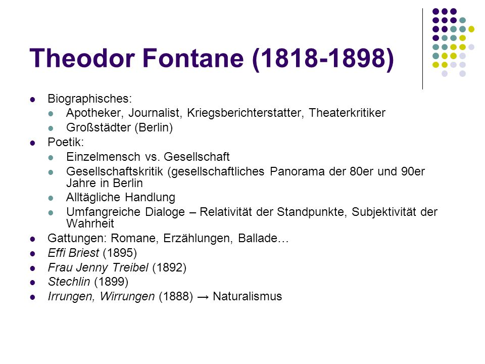 Theodor Fontane (1818-1898) Biographisches:
