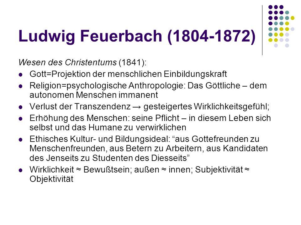 Ludwig Feuerbach (1804-1872) Wesen des Christentums (1841):