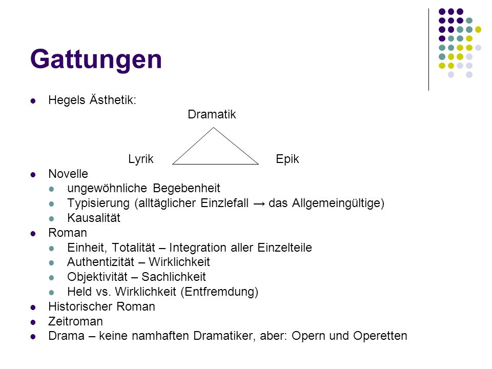 Gattungen Hegels Ästhetik: Dramatik Lyrik Epik Novelle